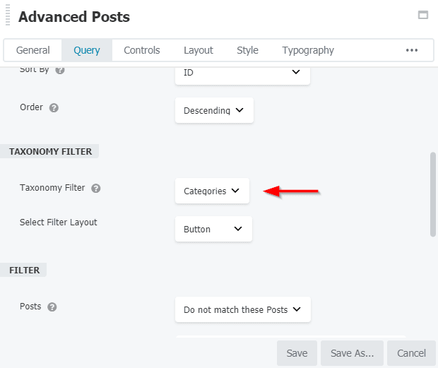 AstroHub - How to enable taxonomy filters in Advanced Posts?