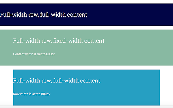 AstroHub - Row layouts: full width and fixed width