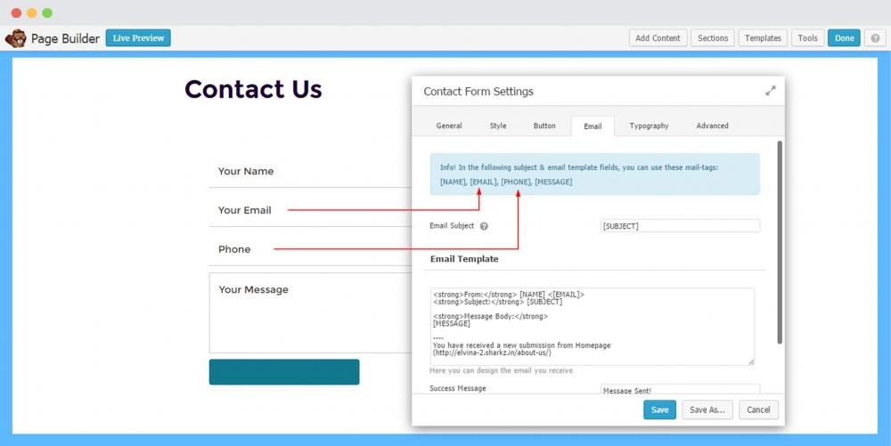 How to Design the Email Template to Receive User Information within the email?